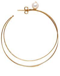 Herve Van Der Straeten - Metallic Goldplated Pearl Hoop Earrings - Lyst