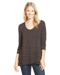 Caslon | Black Scoop Neck Stripe Top | Lyst
