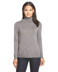 Lafayette 148 New York | Gray Fine Gauge Turtleneck | Lyst