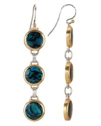 Gurhan | Blue Women's Paua Shell 24k Gold Plated .925 Sterling Silver Drop Earrings | Lyst