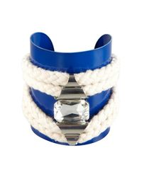 Noir Jewelry - Blue And Silver Crystal Rope Cuff - Lyst