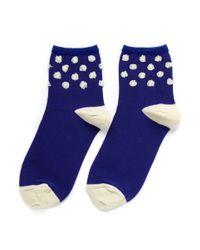 Hansel From Basel - Blue Puff Raise Dot Anklet Socks - Lyst