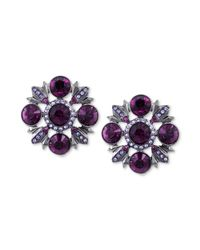 Givenchy - Purple Hematitetone Swarovski Amethyst and Violet Crystal Clip Button Earrings - Lyst