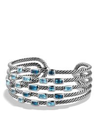David Yurman Confetti Wide Cuff Bracelet With Blue Topaz And Hampton Blue Topaz