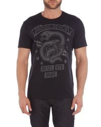 DIESEL - Blue T-newyn Snake Graphic T Shirt for Men - Lyst