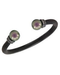 Majorica | Organic Man Made Black Pearl And Stainless Steel Bangle Bracelet | Lyst