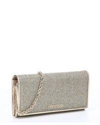Jimmy Choo - Metallic Light Bronze Glitter Fabric And Leather 'nikita' Convertible Continental Wallet - Lyst