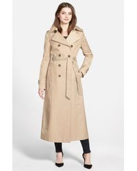 DKNY Natural Hooded Double Breasted Maxi Trench Coat