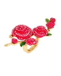 Betsey Johnson | Pink Pave Rose Ring | Lyst