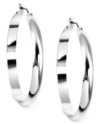 Nine West | Metallic Silver-tone Hoop Earrings | Lyst