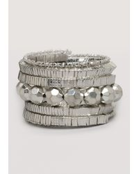 Bebe | Metallic Beaded Coil Wrap Bracelet | Lyst