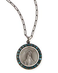 Katie Design Jewelry Modern Mary Charm Necklace With Blue Diamonds