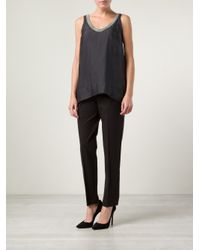 Brunello Cucinelli Gray Embellished Swing Blouse
