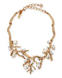 Oscar de la Renta Metallic Pearlbeaded Coral Necklace