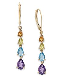 Macy's | Yellow Multi-stone Linear Earrings In 10k Gold (3 Ct. T.w.) | Lyst