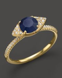 Meira T | 14K Yellow Gold Blue Sapphire Evil Eye Ring With Diamonds | Lyst