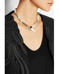 Etro | Brown Suede, Shell And Bone Necklace | Lyst