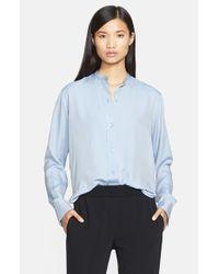 Helmut Lang Blue Matte Silk Twill Shrunken Shirt