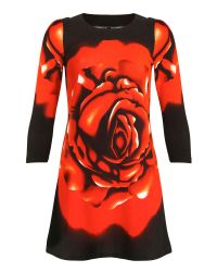 Izabel London Red Knitted Rose Print Dress