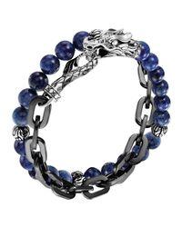 John Hardy - Blue Naga Lapis & Chain Wrap Bracelet - Lyst