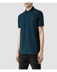 AllSaints | Blue Sandringham Polo for Men | Lyst