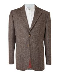 Howick Brown Veteran Wool Blazer with Elbow Patches for men
