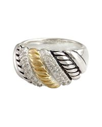 Effy | Metallic Balissima Sterling Silver And 18 Kt. Yellow Gold Textured Diamond Ring | Lyst