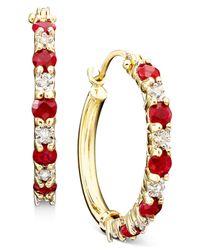Macy's | Metallic 10k Gold Ruby (3/4 Ct. T.w.) & Diamond Accent Hoop Earrings | Lyst