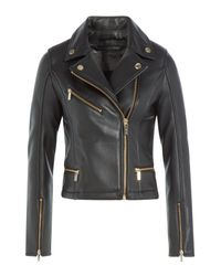 Karl Lagerfeld - Leather Biker Jacket - Black - Lyst
