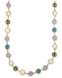 Anne Klein | Blue Gold-tone Multi-stone Necklace | Lyst