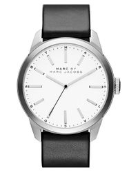 Marc By Marc Jacobs | Black 'dillon' Leather Strap Watch for Men | Lyst