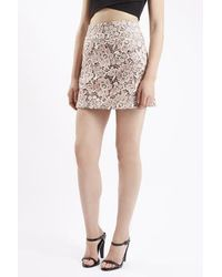 TOPSHOP Pink Lace A-line Skirt