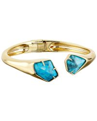 Alexis Bittar | Blue Asymmetrical Break Hinge W/ Fancy Cut Howlite Turquoise Bracelet | Lyst