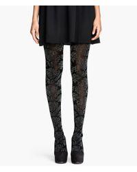 H&M Black Glitter-Patterned Tights