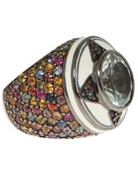 M.c.l | Brown Silver Multicoloured Sapphire Ring | Lyst