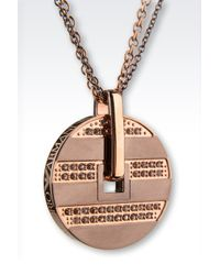 Emporio Armani | Metallic Steel Necklace With Rhinestones | Lyst