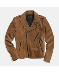 COACH | Brown Suede Motorcycle Jacket for Men | Lyst
