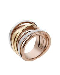 Michael Kors | Pink Tri Tone Interwoven Ring | Lyst