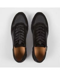 Paul Smith Black Suede And Reflective Mesh 'August' Trainers for men
