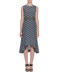 Marni - Blue Floral-print Crepe De Chine Midi Dress - Lyst