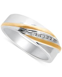 Beautiful Beginnings | Metallic Men's Diamond Accent Wedding Band In 14k Gold And Sterling Silver for Men | Lyst