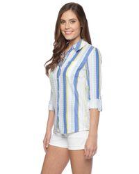 Splendid | Blue Capri Henley Shirt | Lyst