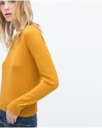 Zara | Yellow Knit Sweater With Sleeve Slits | Lyst