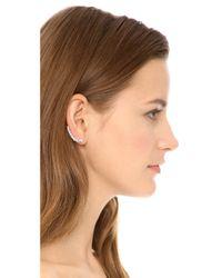 Kenneth Jay Lane - Metallic Crystal Curved Ear Crawlers - Lyst