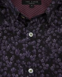 Ted Baker | Purple Painted Floral Print Shirt for Men | Lyst
