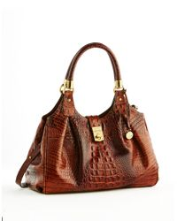 Brahmin | Brown Elisa Leather Satchel Bag | Lyst