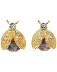 Kenneth Jay Lane - Metallic Polished Gold/crystal/pink Opal Bee Clip Earrings - Lyst