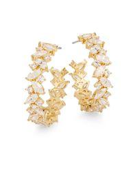 Adriana Orsini | Metallic On The Rocks White Stone Hoop Earrings/goldtone | Lyst