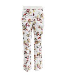 Giambattista Valli White High Waist Floral Pants