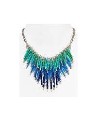 Aqua | Blue Pammy Fireworks Necklace, 14"